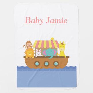 Animales lindos, la arca de Noah, para los bebés Mantita Para Bebé