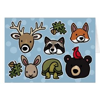 Animales lindos y amistosos del bosque tarjetas