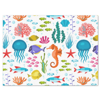 Animales marinos del agua salada y ejemplo de la papel de seda grande