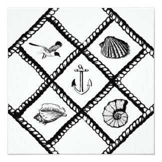 """Animales náuticos de la cuerda y de mar invitación 5.25"""" x 5.25"""""""