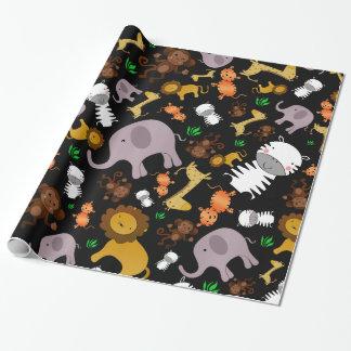 Animales negros del safari de selva papel de regalo