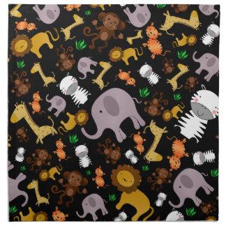Animales negros del safari de selva servilleta