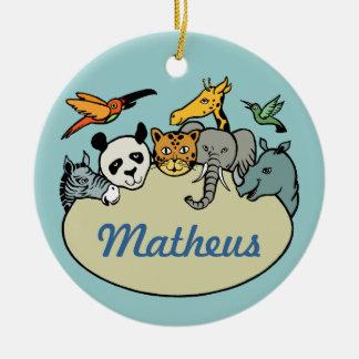 animales personalizados de la familia del parque z ornamento para arbol de navidad