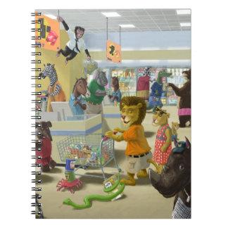 animales que hacen sus compras en un supermercado libreta espiral
