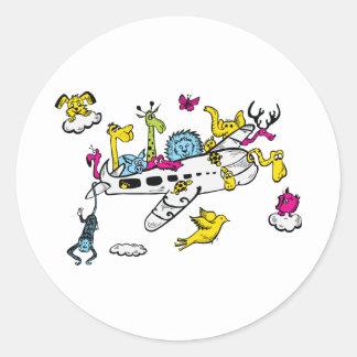 Animales que montan arte de la fantasía del dibujo pegatina redonda