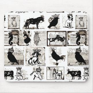 Animales reales blancos y negros del vintage alfombrilla de ratones