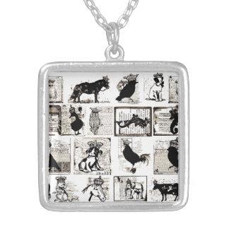 Animales reales blancos y negros del vintage joyeria personalizada
