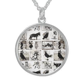 Animales reales blancos y negros del vintage collares de plata esterlina