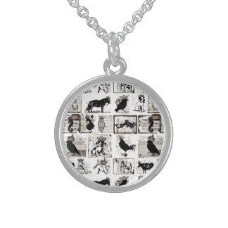 Animales reales blancos y negros del vintage collar de plata esterlina