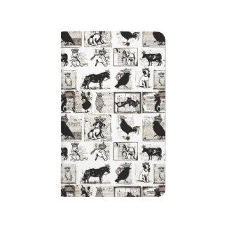 Animales reales blancos y negros del vintage cuadernos grapados