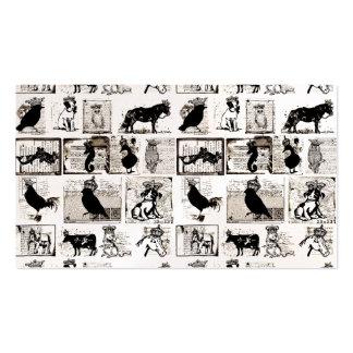Animales reales blancos y negros del vintage tarjetas de visita
