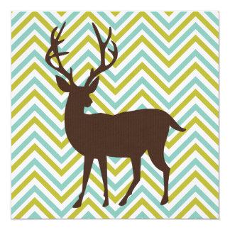 Animales retros en los galones - ciervos invitación 13,3 cm x 13,3cm