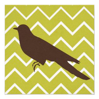 Animales retros en los galones - pájaro invitación 13,3 cm x 13,3cm