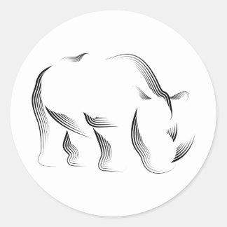 Animales - rinoceronte pegatina redonda