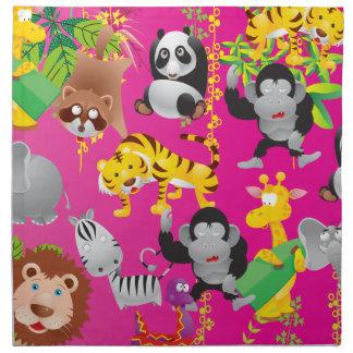 Animales rosados de la selva del safari servilletas imprimidas