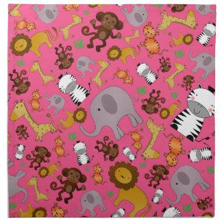 Animales rosados del safari de selva servilletas imprimidas