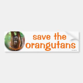 Animales salvajes: ahorre el orangután pegatina de parachoque