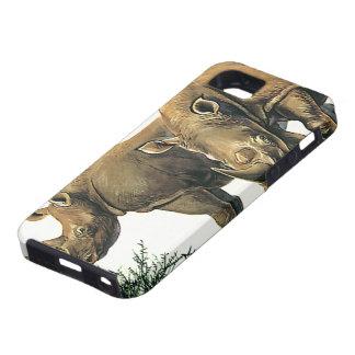 Animales salvajes de la selva del vintage Rhinos iPhone 5 Case-Mate Fundas