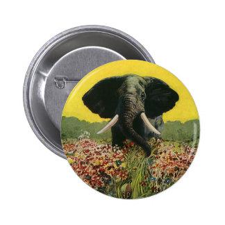 Animales salvajes del vintage, elefante africano pin redondo de 2 pulgadas