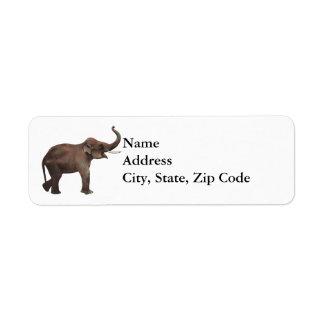 Animales salvajes del vintage, elefante asiático,  etiqueta de remite