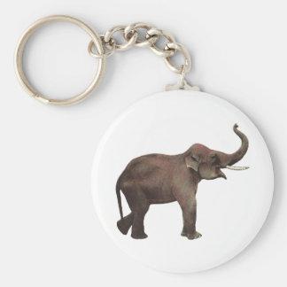Animales salvajes del vintage, elefante asiático, llavero redondo tipo pin