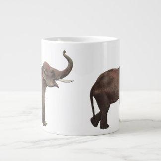 Animales salvajes del vintage, elefantes asiáticos taza de café grande