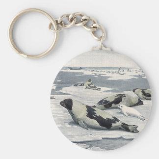 Animales salvajes del vintage, sellos de puerto llavero redondo tipo pin