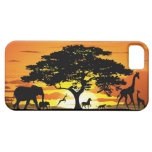 Animales salvajes en iPhone de la puesta del sol iPhone 5 Fundas
