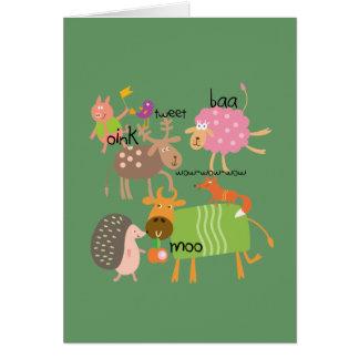 Animales tontos tarjeta de felicitación