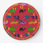 Animales - tortugas púrpuras abstractas y elefante reloj