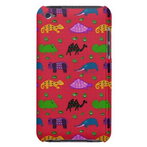 Animales - tortugas púrpuras y elefantes azules iPod touch Case-Mate coberturas