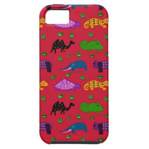 Animales - tortugas púrpuras y elefantes azules funda para iPhone SE/5/5s