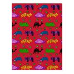 Animales - tortugas púrpuras y elefantes azules postal
