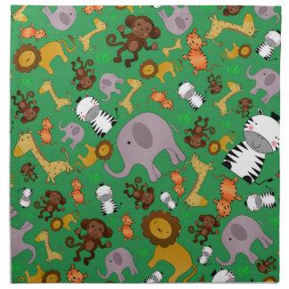 Animales verdes del safari de selva servilleta