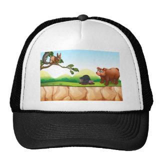 Animales y acantilado gorros bordados