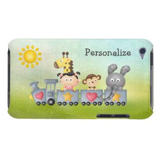 Animales y chica lindos en el tren carcasa para iPod