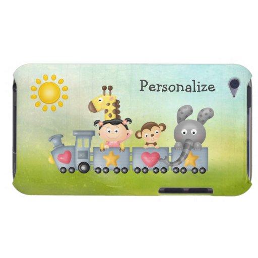 Animales y chica lindos en el tren iPod touch protector