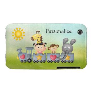 Animales y chica lindos en el tren Case-Mate iPhone 3 coberturas