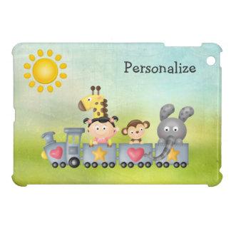 Animales y chica lindos en el tren iPad mini cárcasa