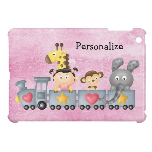 Animales y chica lindos en el tren iPad mini protectores