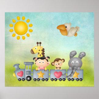 Animales y chica lindos en el tren póster