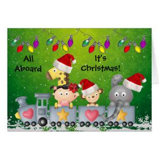 Animales y chica lindos en navidad colorido del tarjeta de felicitación