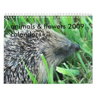 animales y flores calendario