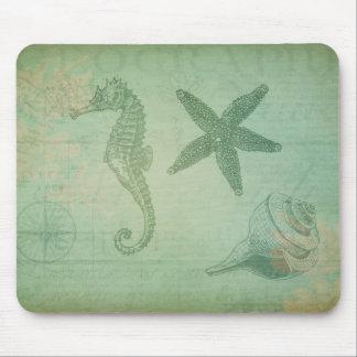 Animales y Seashells del océano del vintage Tapetes De Ratones