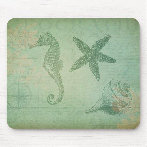 Animales y Seashells del océano del vintage Tapetes De Ratón