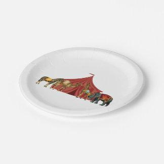 Animales y tienda de circo platos de papel