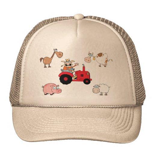 Animales y tractor del campo gorra