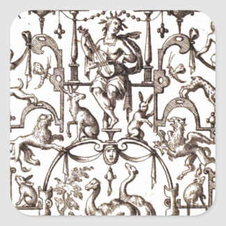 Animals 1700 French Engraving Square Sticker