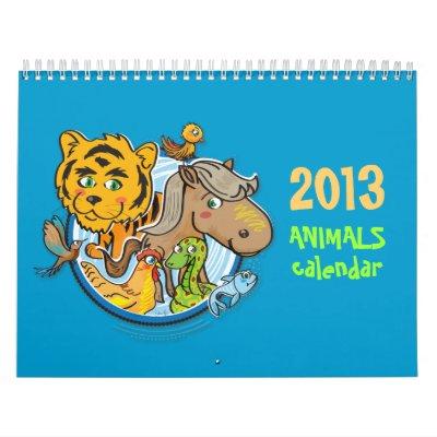 Animals 2013 kids Calendar