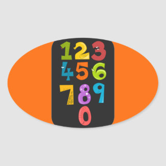 animals-40904 animals school NUMBERS COLORFUL educ Oval Sticker